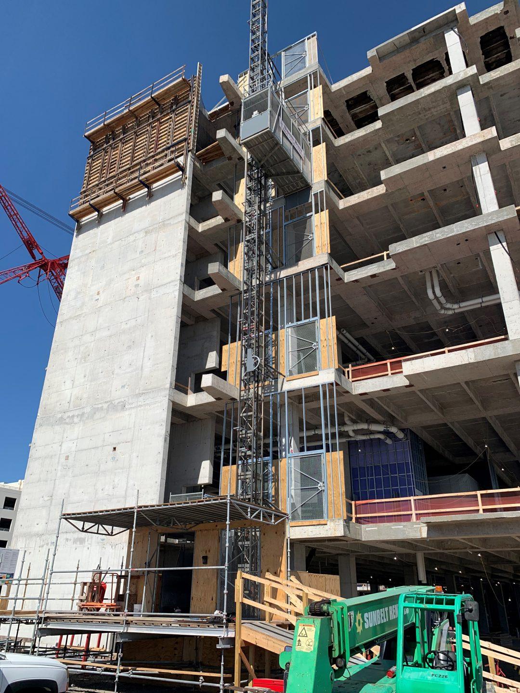 Construction structural steel frame installation