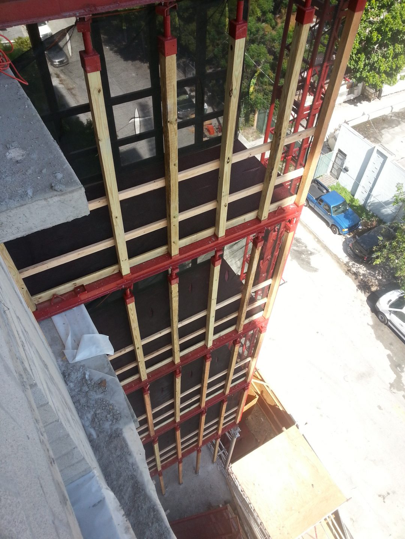 Custom scaffolding and setback setup